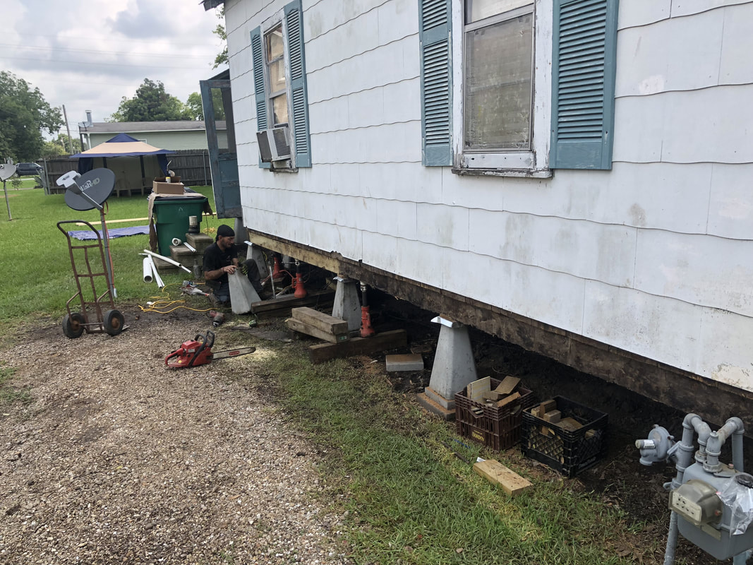 Foundation Repair Contractor doing beam and sill replacement in Rayne, LA